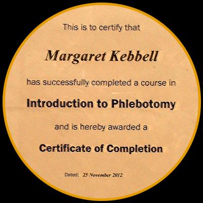 Herne Bay therapist Maggie's Certificate